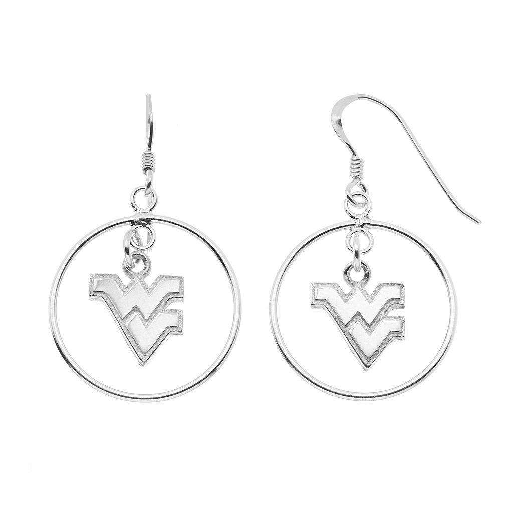 Dayna U West Virginia Mountaineers Sterling Silver Logo Charm Hoop Drop Earrings
