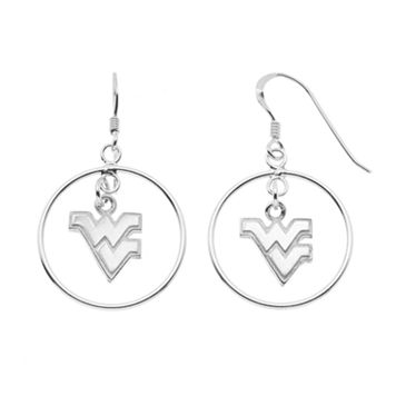 Dayna U West Virginia Mountaineers Sterling Silver Logo Charm Hoop Drop Earrings