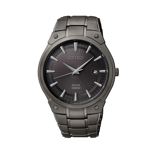 Seiko men 39 s stainless steel solar watch sne325 for Watches kohls