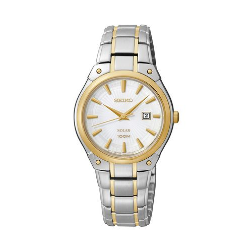 Seiko Women's Two Tone Stainless Steel Solar Watch - SUT128
