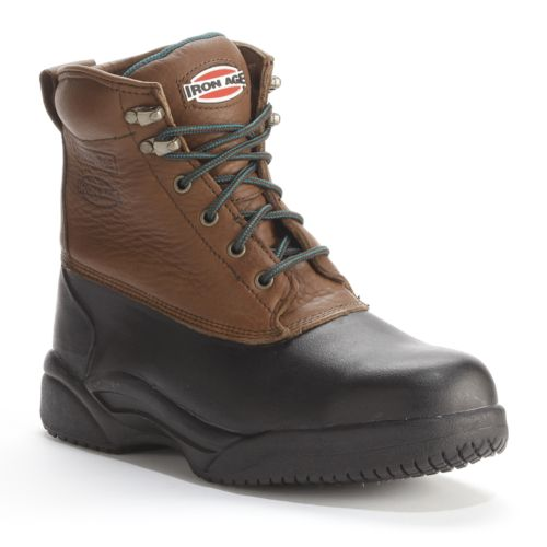 Age Men's Waterproof Steel-Toe Wide Work Boots