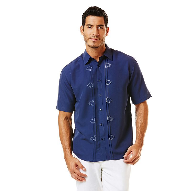 Havanera Embroidered Casual Button-Down Shirt - Big & Tall Size L TALL (Blue)