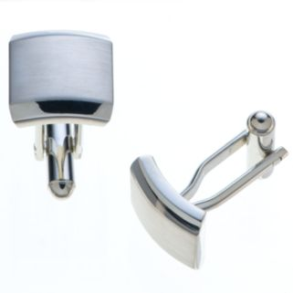 Croft & Barrow® Brushed Silver Tone Cuff Links
