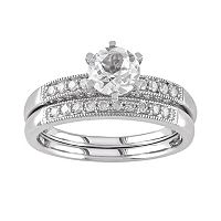 Lab-Created White Sapphire & Diamond Engagement Ring Set in 10k White Gold (1/3 ctT.W.)