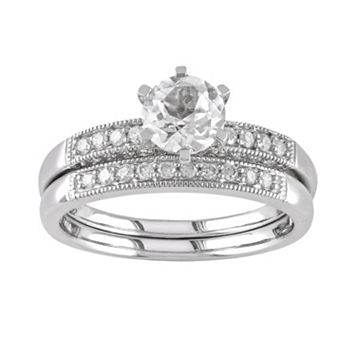 Lab-Created White Sapphire & Diamond Engagement Ring Set in 10k White Gold (1/3 ct. T.W.)