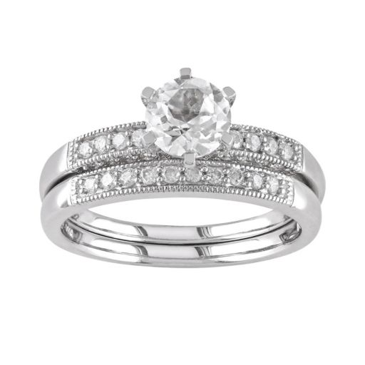 Stella Grace Lab-Created White Sapphire and Diamond Engagement Ring Set in 10k White Gold (1/3 ct. T.W.)