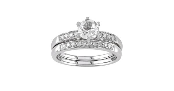 Diamond Rings For Sale Kohls: Lab-Created White Sapphire And Diamond Engagement Ring Set