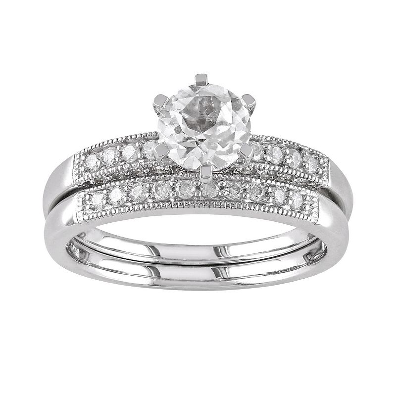 Lab-Created White Sapphire and Diamond Engagement Ring Set in 10k White Gold (1/3 ct. T.W.)