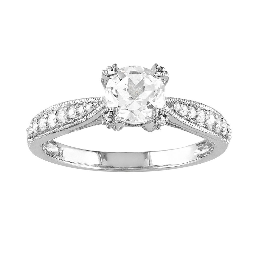 Lab-Created White Sapphire & Diamond Engagement Ring in Sterling Silver (1/10 ct. T.W.)