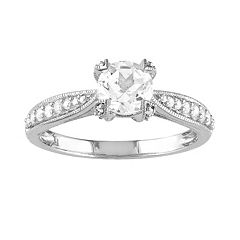 Lab-Created White Sapphire & Diamond Engagement Ring in Sterling Silver (1/10 ctT.W.)
