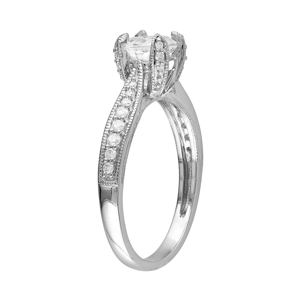 Lab-Created White Sapphire and Diamond Engagement Ring in Sterling Silver (1/10 ct. T.W.)
