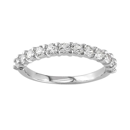 Sterling Silver Lab-Created White Sapphire Band