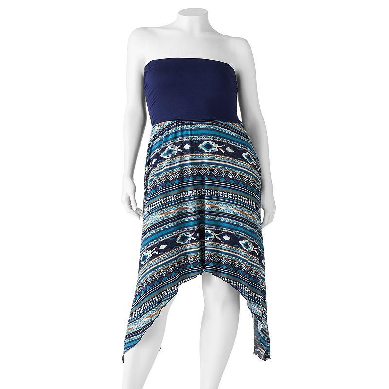 Wrapper Tribal Sharkbite Strapless Dress - Juniors' Plus