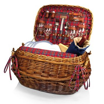 Picnic Time Highlander Willow Picnic Basket with Service for 4