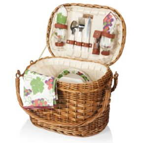 Picnic Time Romance Willow Picnic Basket with Service for 2