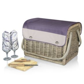 Picnic Time Kabrio Aviano Willow Picnic Basket with Service for 2