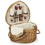 Picnic Time Heart Willow Picnic Basket with Service for 2