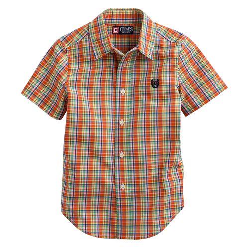 Chaps Boys Plaid Woven Short Sleeve Button Down Orange
