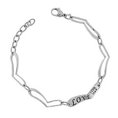 Stainless Steel 'Love' Heart Link Bracelet