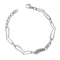 Stainless Steel 'Trust' Heart Link Bracelet