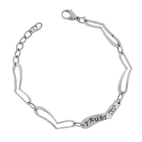 "Stainless Steel ""Trust"" Heart Link Bracelet"