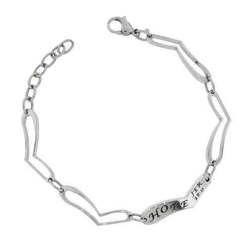 Stainless Steel Hope Heart Link Bracelet