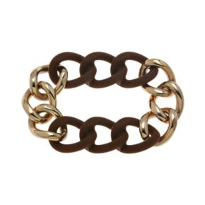 Rose Ion-Plated Stainless Steel and Brown Silicone Curb Chain Stretch Bracelet