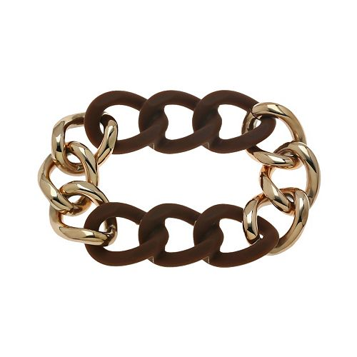 Rose Ion-Plated Stainless Steel & Brown Silicone Curb Chain Stretch Bracelet