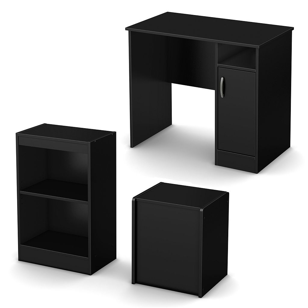 South Shore 3-pc. Axess Small Desk, Storage Bench & 2-Shelf Bookcase Set