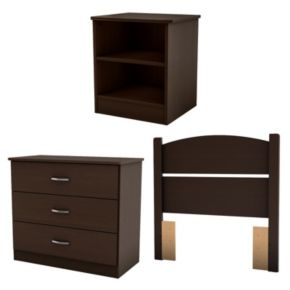 South Shore 3-pc. Libra Twin Headboard, 3-Drawer Chest and Nightstand Set