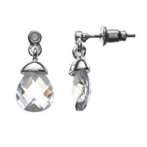 Silver Tone Cubic Zirconia Drop Earrings