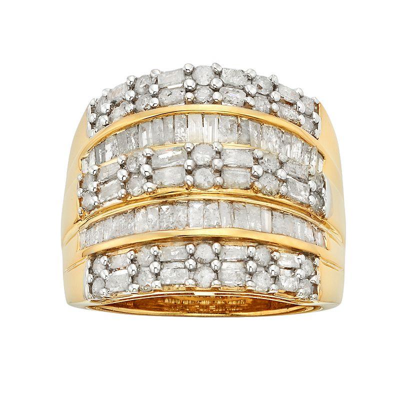 18k Gold Over Silver 2-ct. T.W. Diamond Multirow Ring