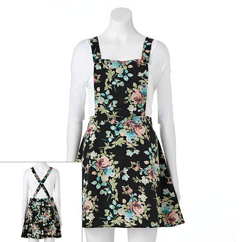 Juniors' Tinseltown Floral Bib Dress