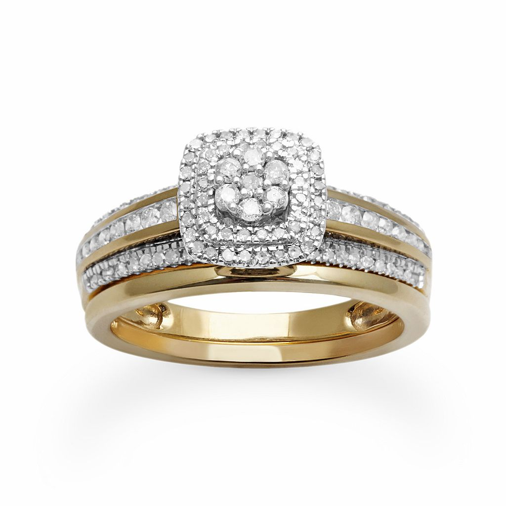 Diamond Square Halo Engagement Ring Set in 10k Gold (1/2 ct. T.W.)