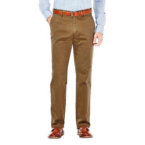 Haggar Mens Performance Cotton Slack Straight-Fit Plain-Front Pant