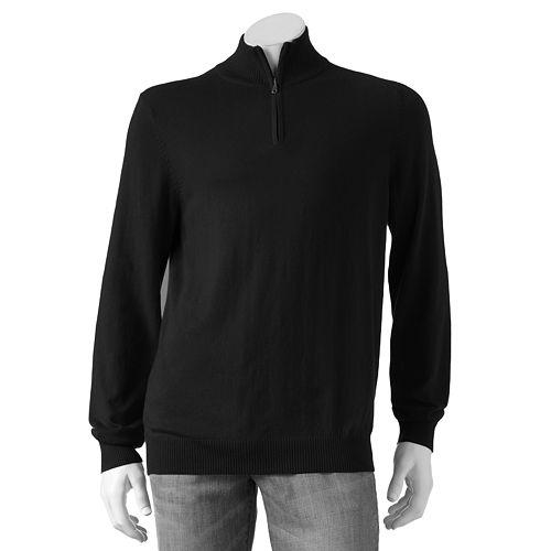 Big & Tall Croft & Barrow® Solid 1/4-Zip Lightweight Sweater
