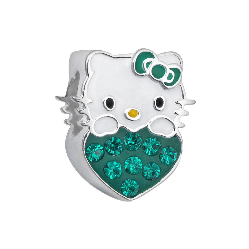 Hello Kitty® Sterling Silver Crystal Birthstone Heart Bead