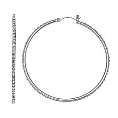 Jennifer Lopez Simulated Crystal Nickel Free Hoop Earrings