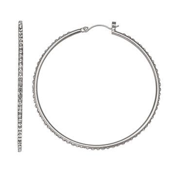 Jennifer Lopez Simulated Crystal Nickel Free Hoop Earrings