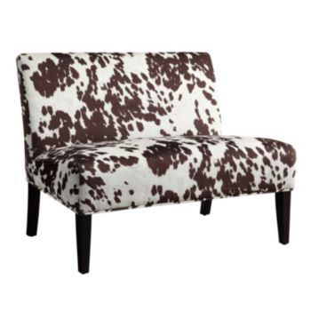 HomeVance Cowhide Print Armless Loveseat