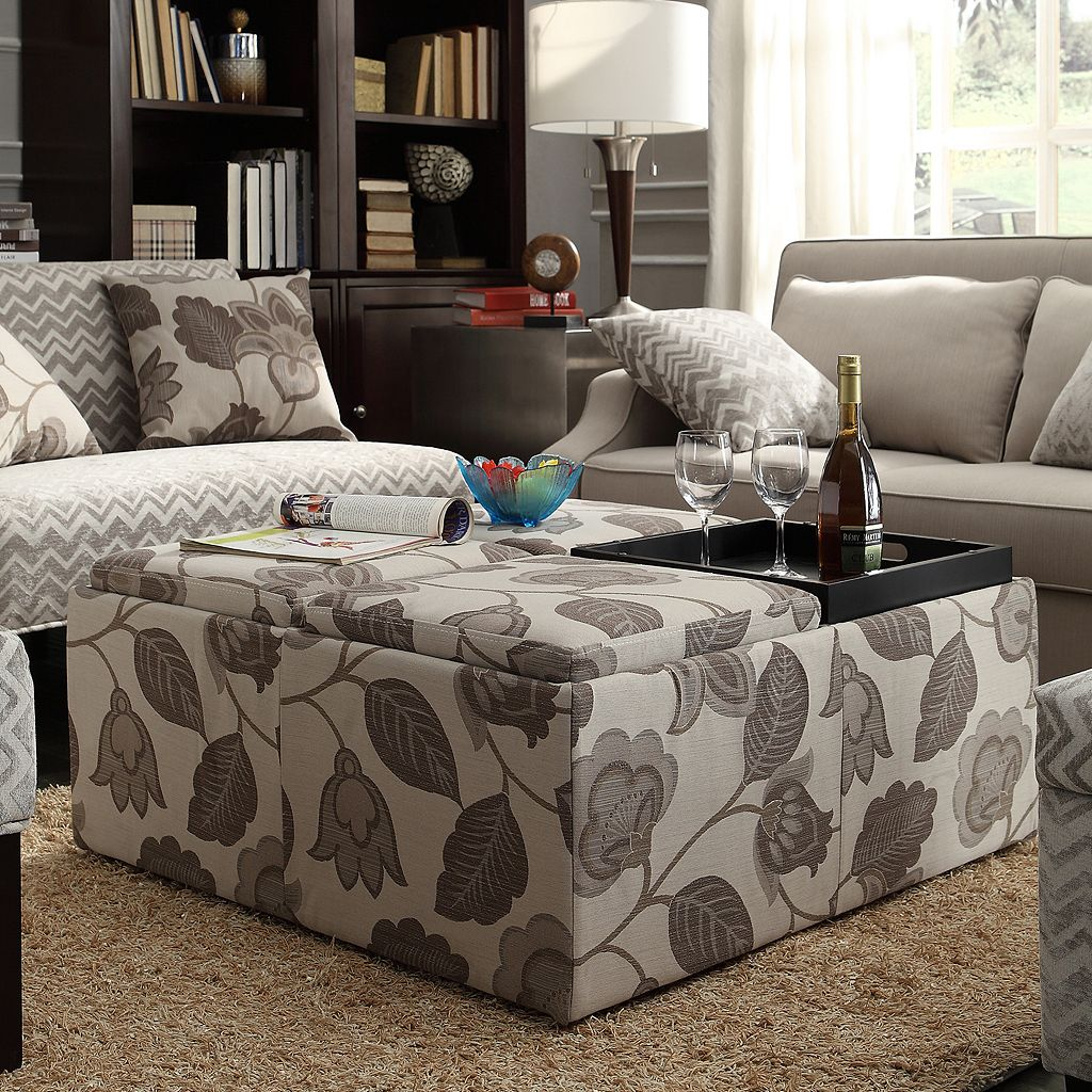 HomeVance Avery Storage Ottoman