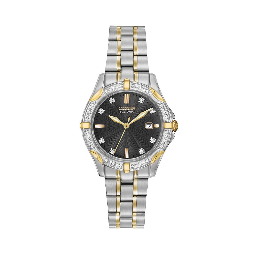 Citizen Watch - Women's Eco-Drive Diamond Two Tone Stainless Steel - EW1924-52H
