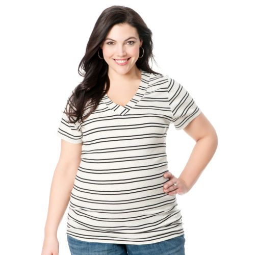 Oh Baby by Motherhood™ Striped Ruched Tee - Maternity Plus