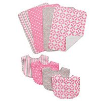 Trend Lab Lauren Lily Logan 8 pc Bib & Burp Cloth Set