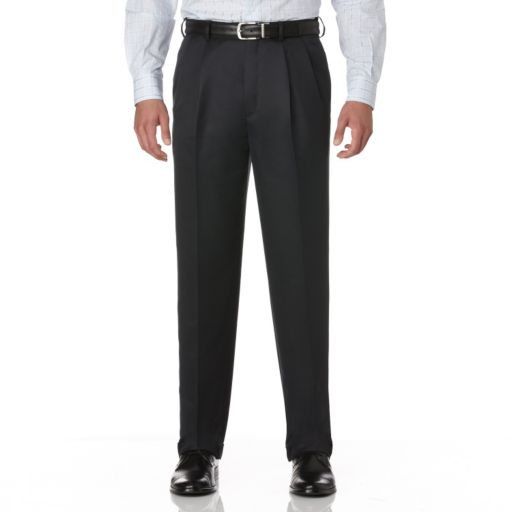 Men's Savane Crosshatch Straight-Fit Easy-Care Pleated Dress Pants