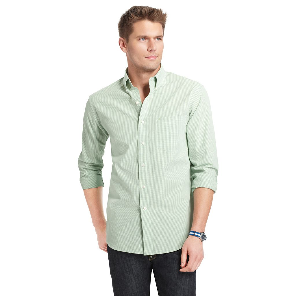Men's IZOD Checked Casual Button-Down Shirt