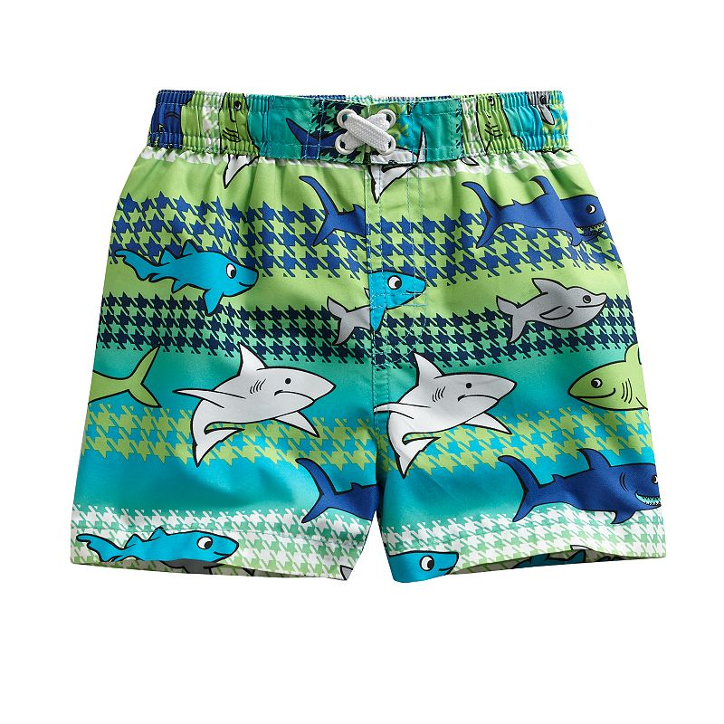 Al and Ray Houndstooth Shark Swim Trunks - Baby