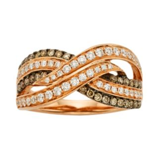Espresso Natural Color Diamonds 10k Rose Gold 5/8-ct. T.W. Brown and White Diamond Crissross Ring