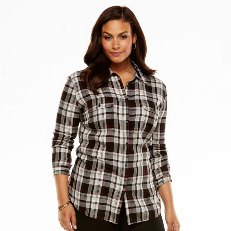 Chaps Plaid Twill Shirt - Women's Plus