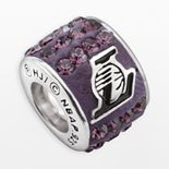 LogoArt Los Angeles Lakers Sterling Silver Crystal Logo Bead - Made with Swarovski Crystals